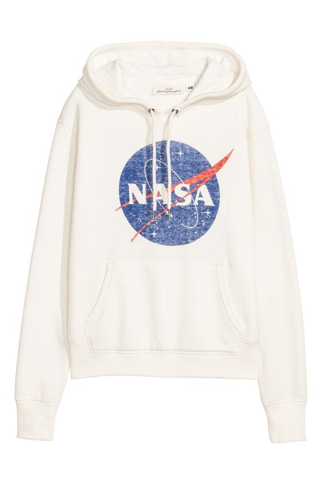 cc4237e0 Printed Hooded Sweatshirt - White/NASA - Ladies | H&M CA 1