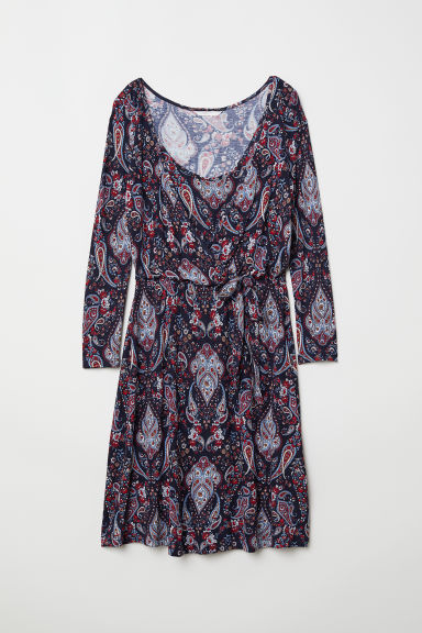 MAMA Nursing dress - Dark blue/Paisley-patterned - Ladies | H&M CN