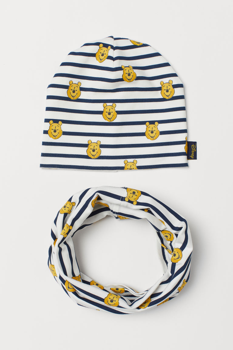 Jersey Hat and Tube Scarf - White/Winnie the Pooh -  | H&M US