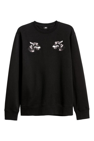 Sweatshirt with appliqués - Black - Men | H&M