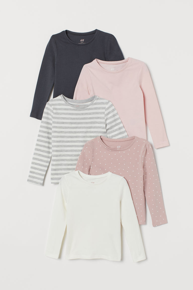 5-pack Jersey Tops - Lt. pink/nat. white/lt. gray - Kids | H&M CA