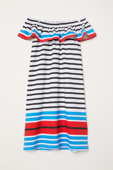 Dress with a flounce - White/Black striped - Kids | H&M CN
