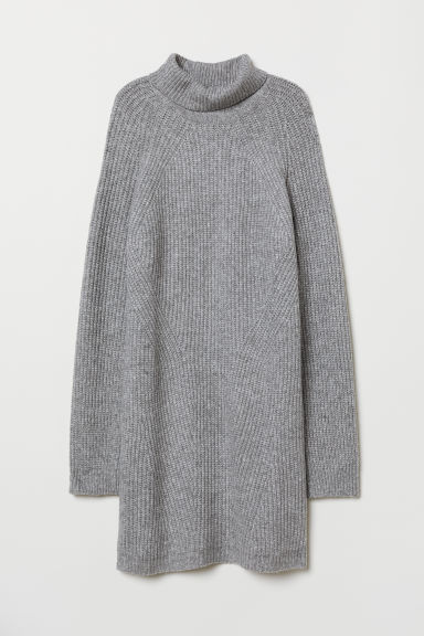 Knitted polo-neck dress - Grey marl - Ladies | H&M