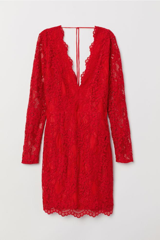e78f0c4df3 Lace V-neck Dress - Red - | H&M ...