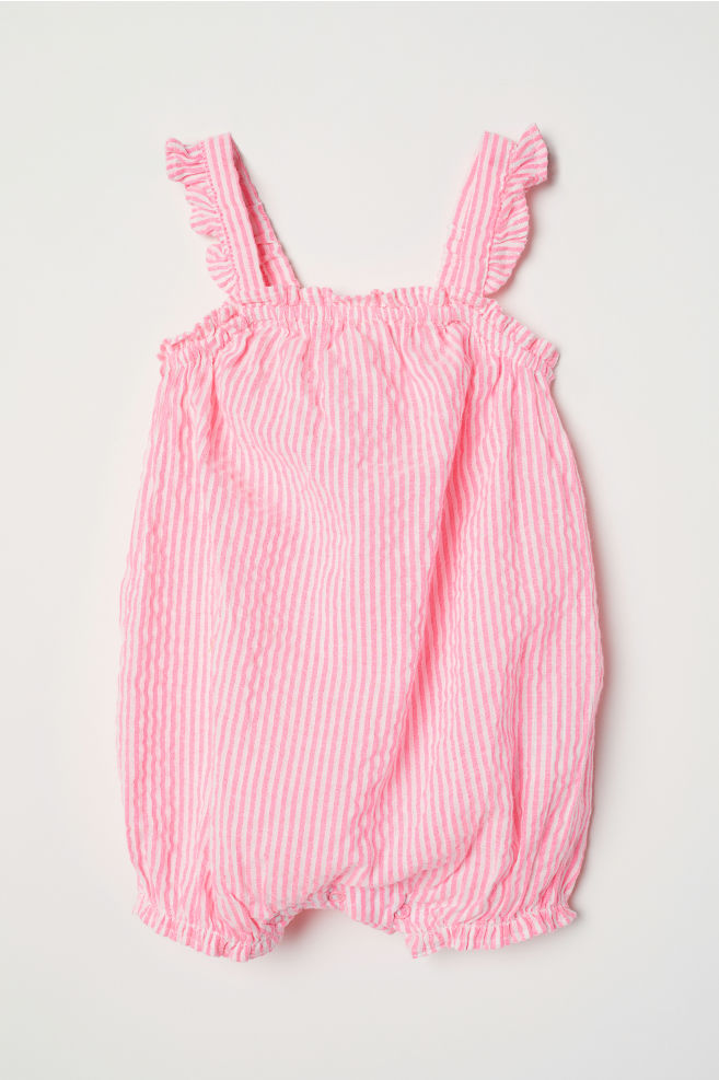f9910e94e9f5 Sleeveless romper suit - Neon pink Striped - Kids