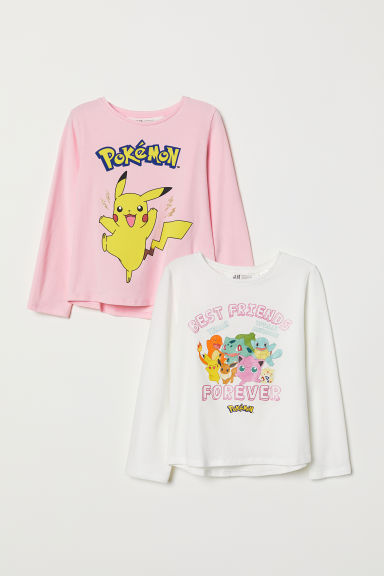 2-pack jersey tops - Light pink/Pokémon - Kids | H&M