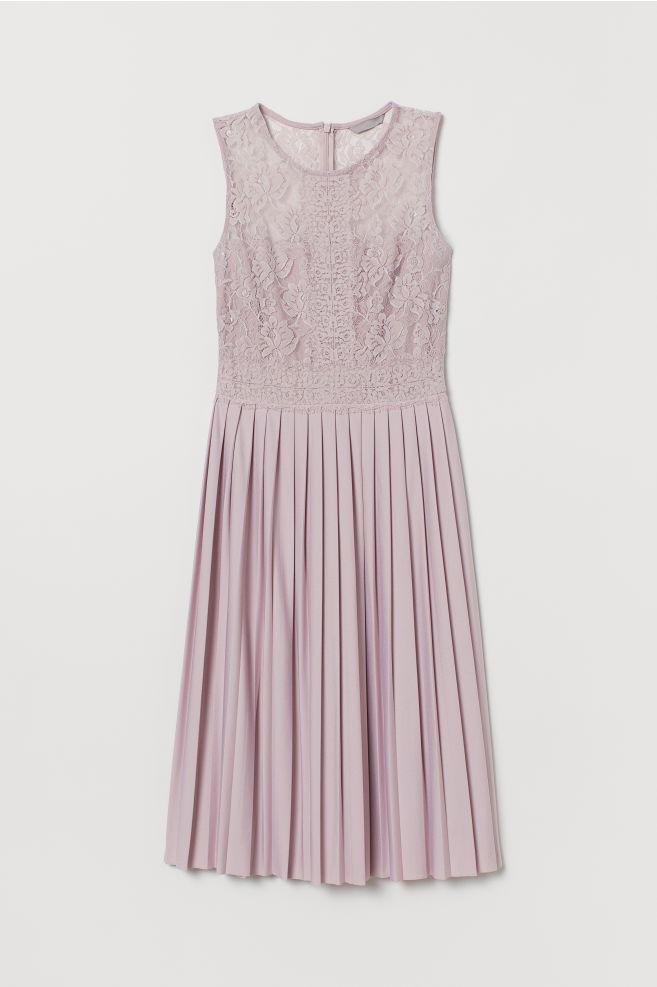 a77617b0b7fac2 ... Kanten jurk met plissérok - Roze - DAMES