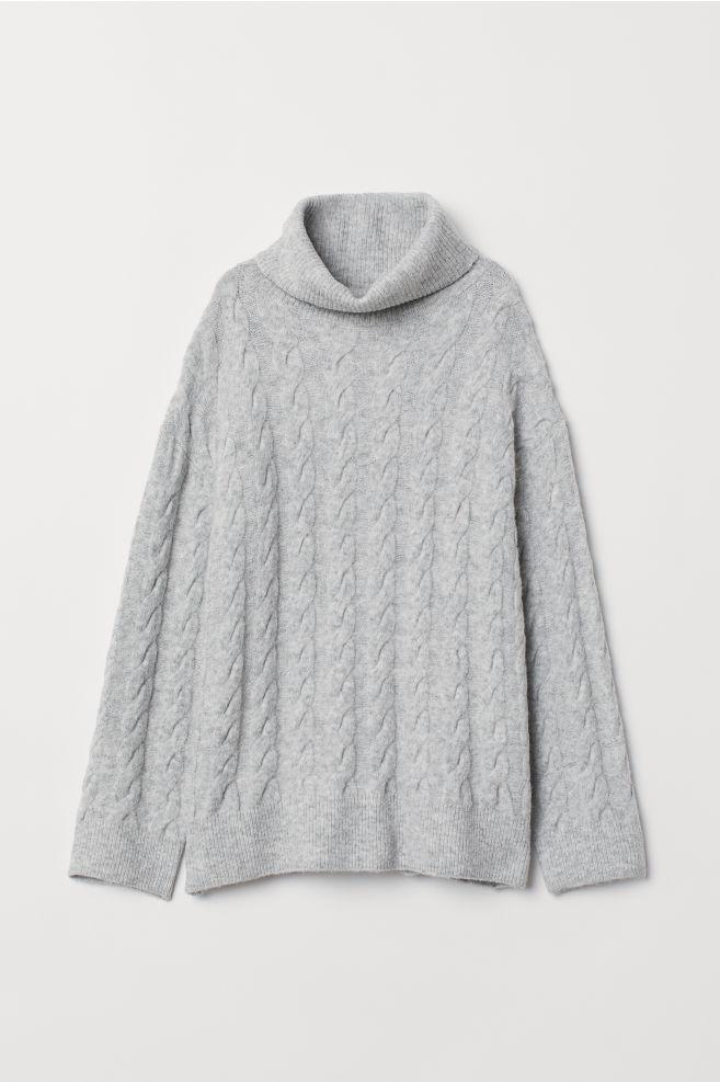 7e3c264c1095 Cable-knit Turtleneck Sweater - Light gray melange - Ladies
