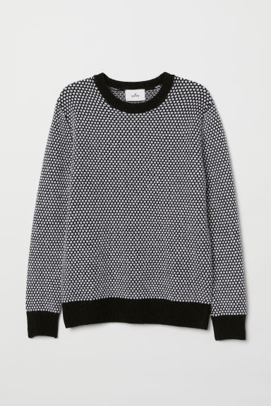 Textured-knit wool jumper - Black/White - Men | H&M