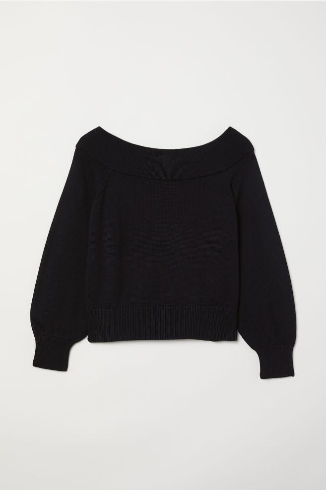 38670b03 Off-the-shoulder Sweater - Black - Ladies | H&M ...