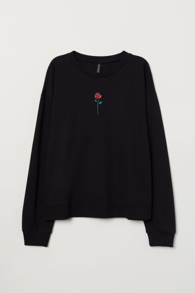 Printed sweatshirt - Black -  | H&M