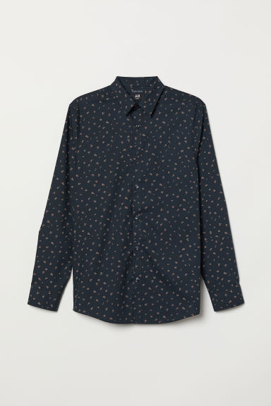 Easy-iron shirt Slim fit - Dark blue/Patterned - Men | H&M CN