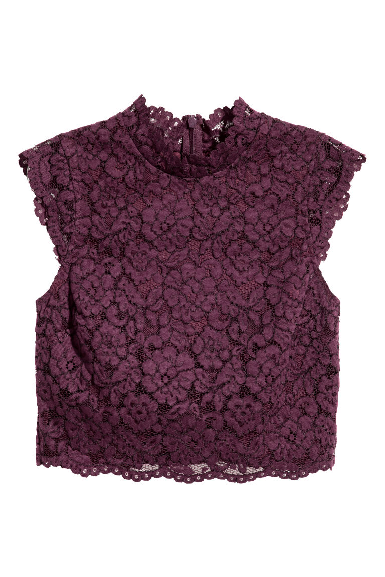 Top in pizzo - Prugna - DONNA | H&M CH