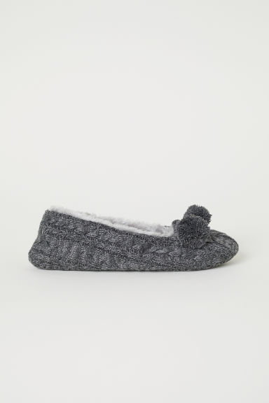 Cable-knit slippers - Dark grey marl - Ladies | H&M