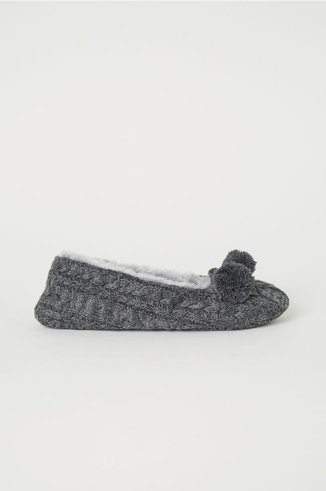 Cable Knit Slippers Dark Gray Melange Ladies Hm Ca