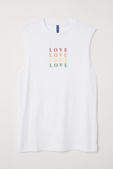 Tanktop met motief - Wit/Love - HEREN | H&M BE