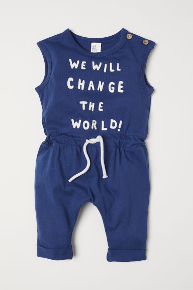Tutina in jersey con stampa - Blu scuro/Change the world - BAMBINO | H&M IT
