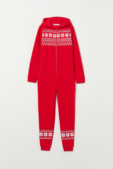 Sweatshirt all-in-one suit - Red/Patterned - Kids | H&M