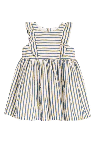 Striped cotton dress - White/Gold-coloured stripes -  | H&M CN