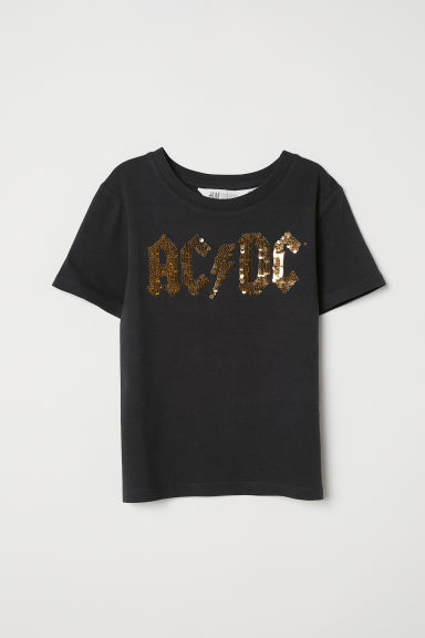 Reversible sequin T-shirt - Black/AC/DC - Kids | H&M