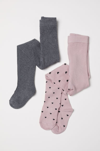 2-pack fine-knit tights - Powder pink/Hearts - Kids | H&M