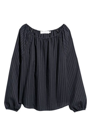 Cotton blouse - Black - Ladies | H&M CN