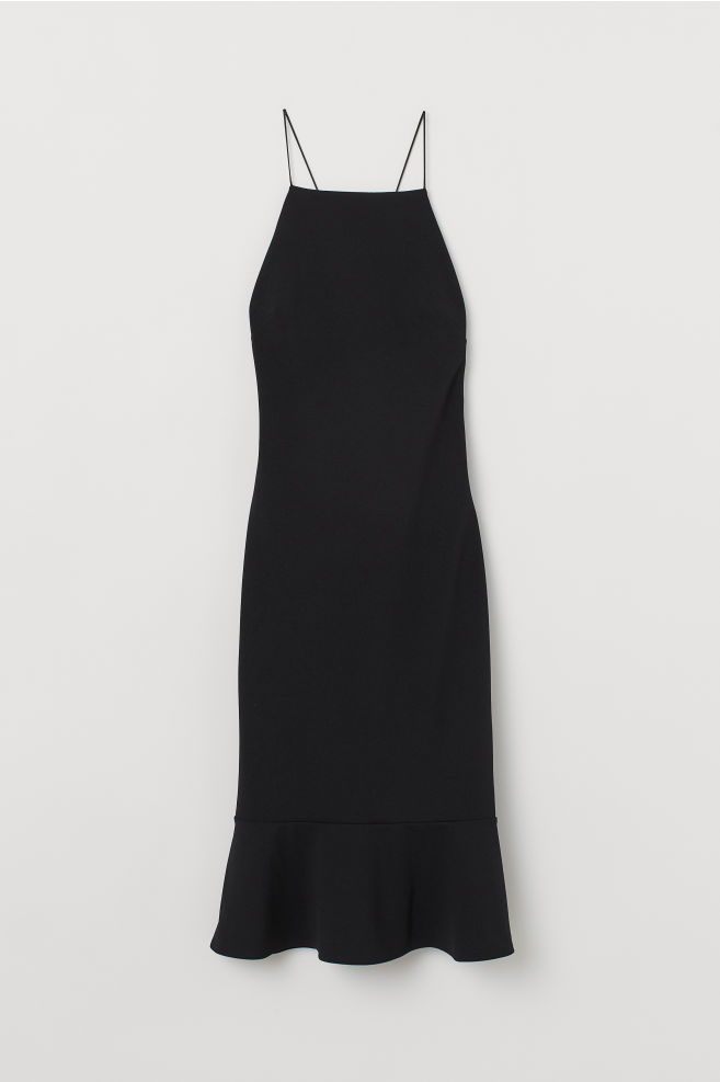 7572ed76cd403e ... Dress with a low-cut back - Black - Ladies | H&M ...