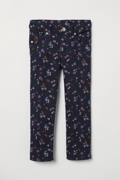 Twill trousers - Dark blue/Floral - Kids | H&M CN