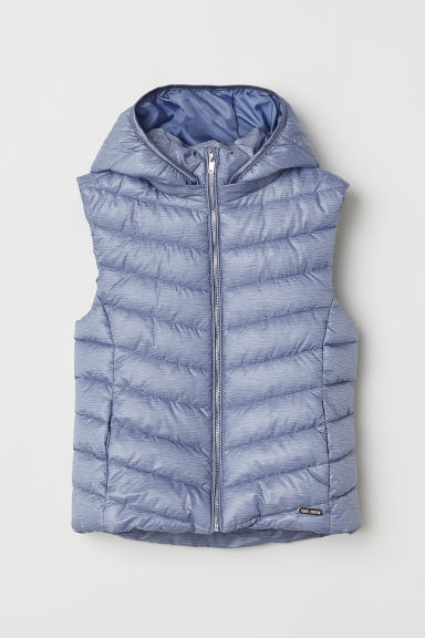Padded gilet with a hood - Blue marl - Kids | H&M CN