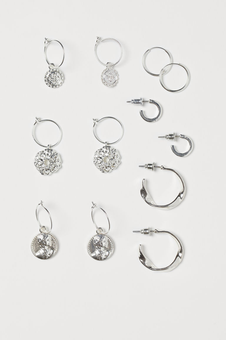6-pack earrings - Silver-coloured - Ladies | H&M GB