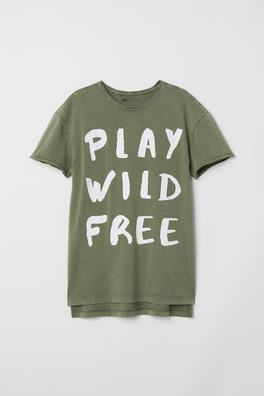 Printed T-shirt - Khaki green/Play - Kids | H&M CN