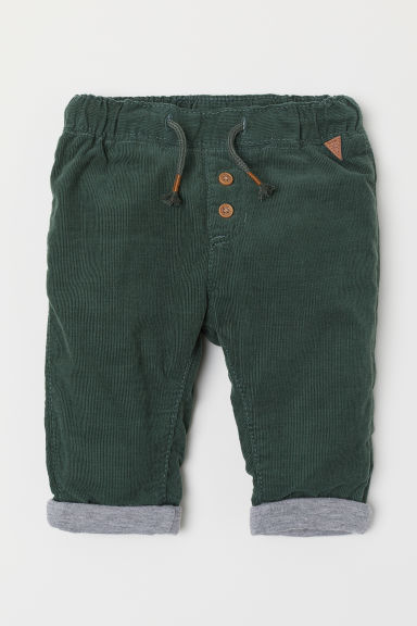 Lined corduroy trousers - Dark green - Kids | H&M