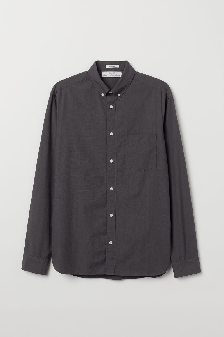 Poplin shirt Regular fit - Dark grey - Men | H&M