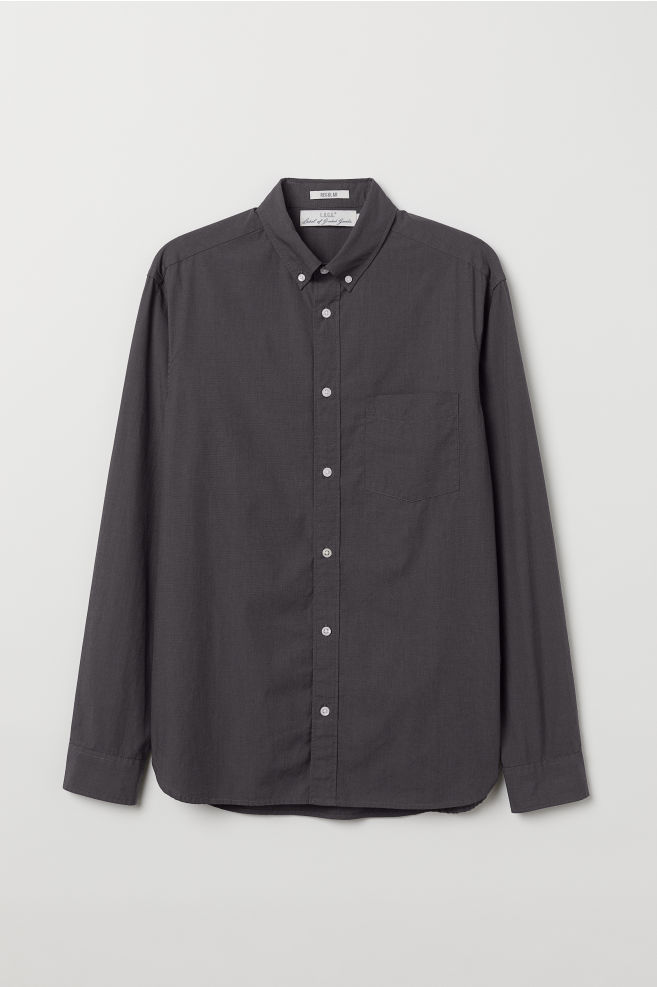 Donkergrijs Overhemd.Overhemd Regular Fit Donkergrijs Heren H M Nl