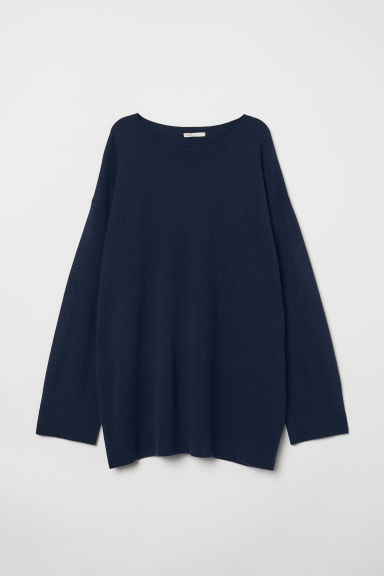 Oversized cashmere jumper - Dark blue - Ladies | H&M