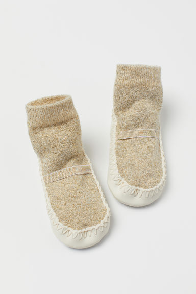 Glittery moccasins - White/Gold-coloured - Kids | H&M