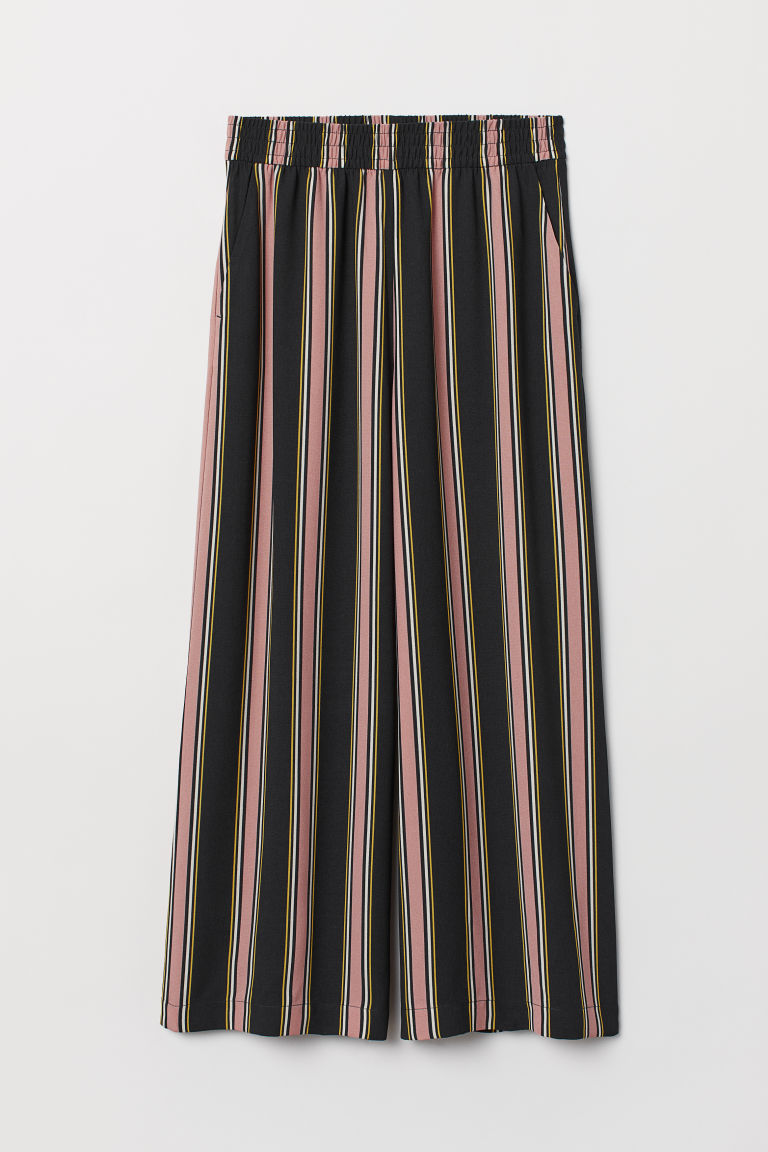 Ankle-length pull-on trousers - Black/Striped -  | H&M