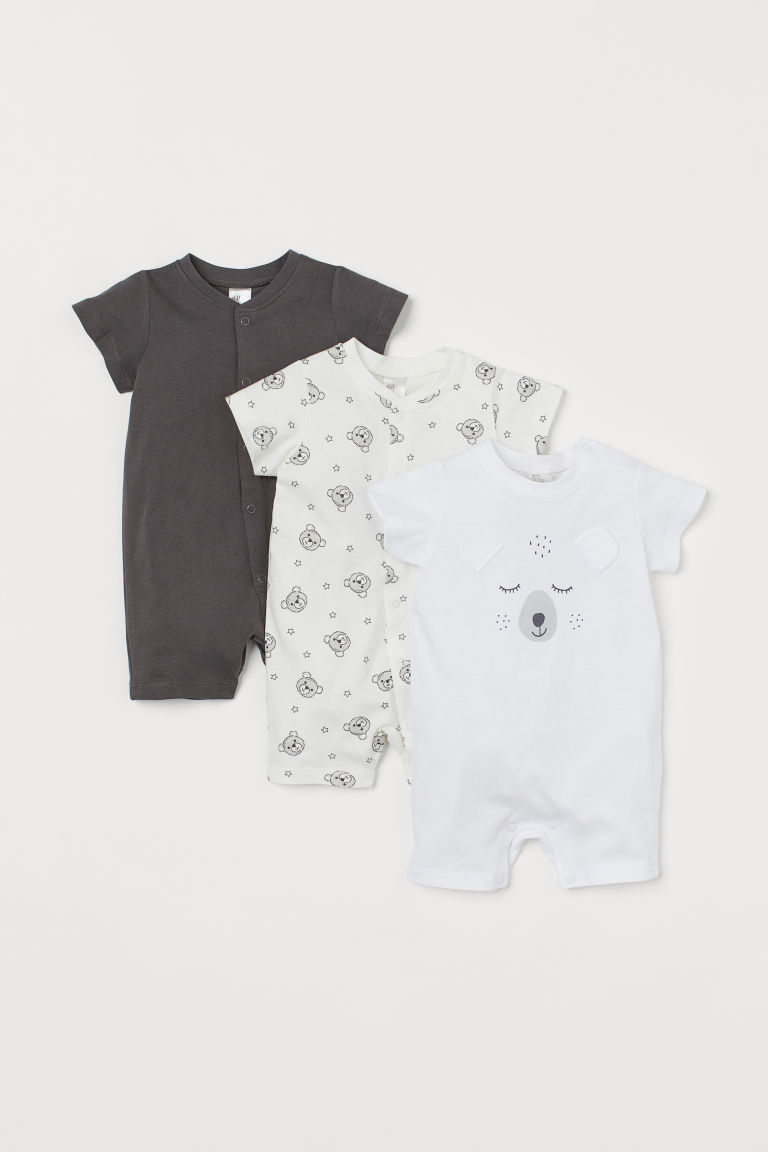 3-pack cotton pyjamas - Dark grey/Bear - Kids | H&M