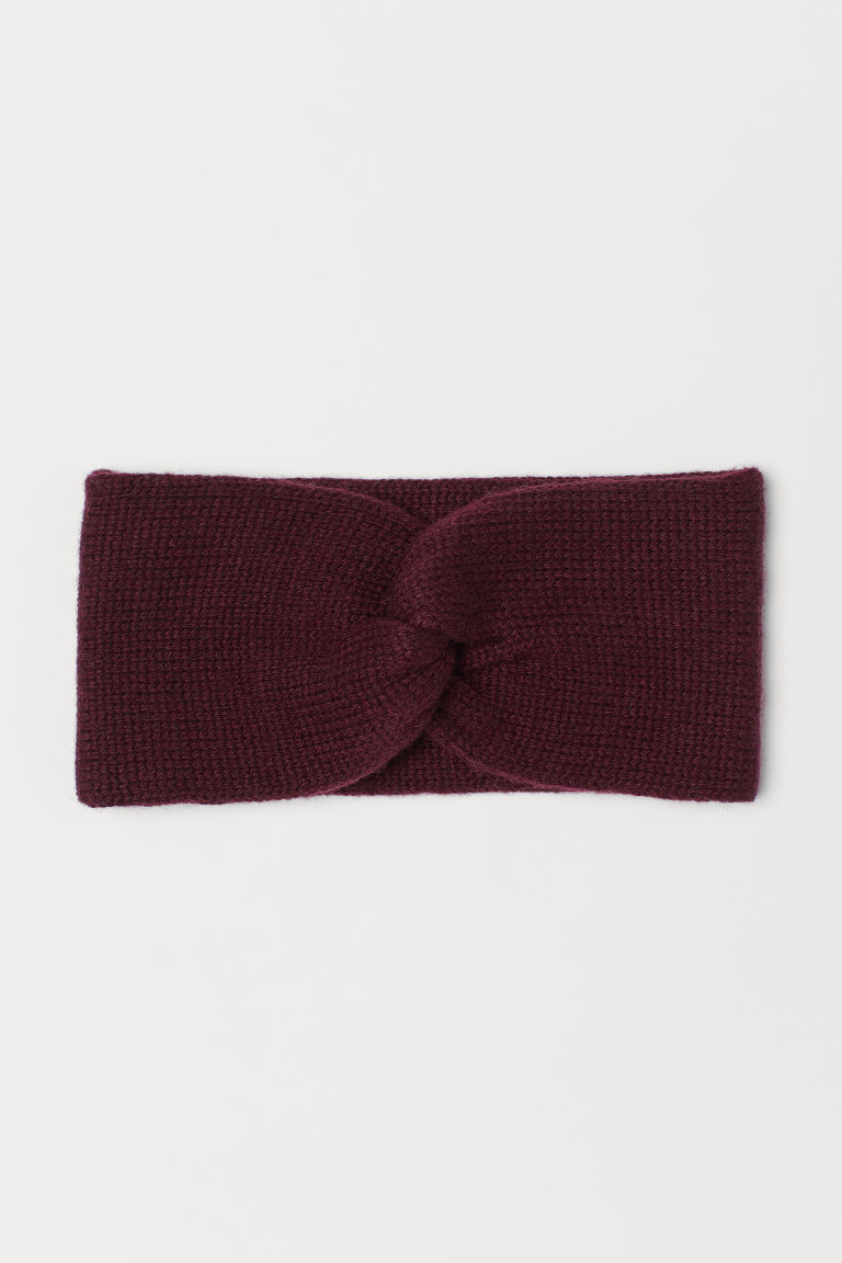 Knitted headband - Burgundy -  | H&M CN