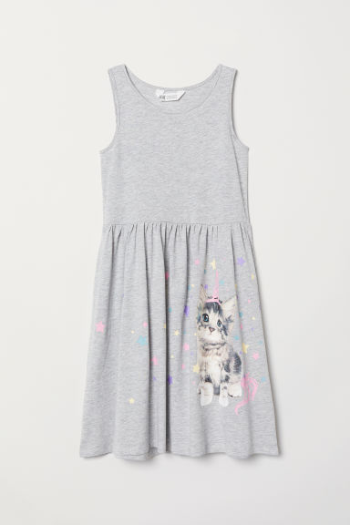 Patterned jersey dress - Light grey/Cat - Kids | H&M