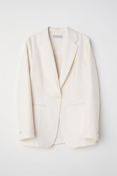Fitted linen jacket - Cream - Ladies | H&M CN