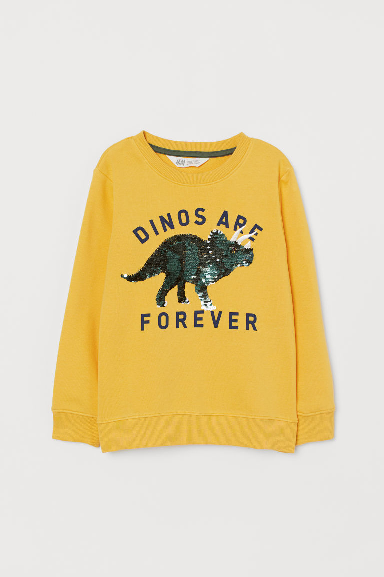 Top with reversible sequins - Yellow/Dinosaur - Kids | H&M
