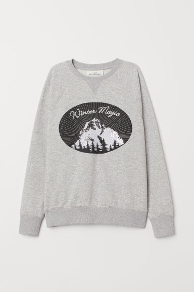 Sudadera con motivo - Gris jaspeado/Winter Magic -  | H&M ES
