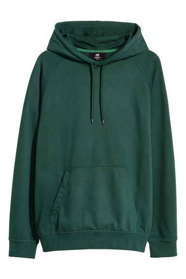 Hooded Raglan-sleeve Shirt - Dark green - Men | H&M US