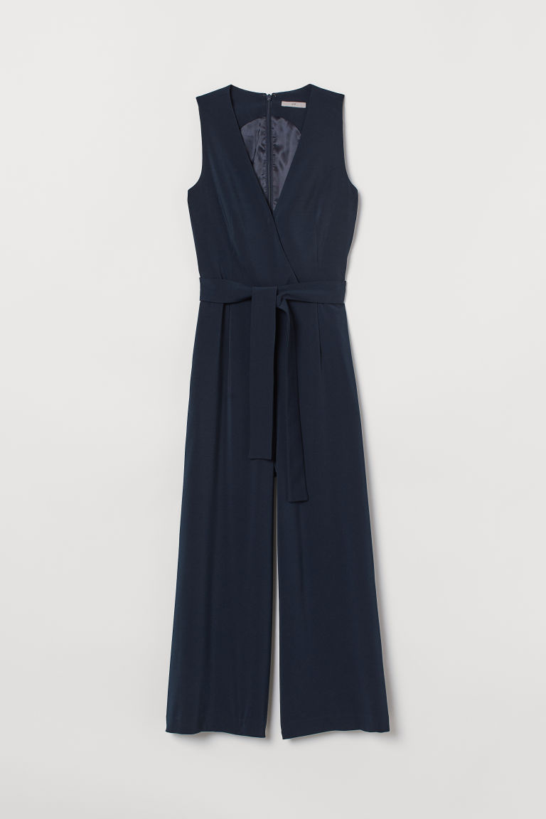 Jumpsuit with a tie belt - Dark blue - Ladies | H&M