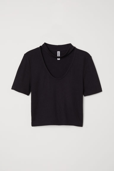 Geribde top - Zwart -  | H&M BE