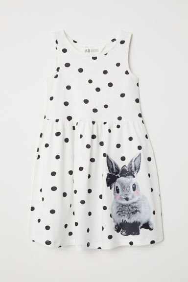 Sleeveless jersey dress - Natural white/Spotted - Kids | H&M