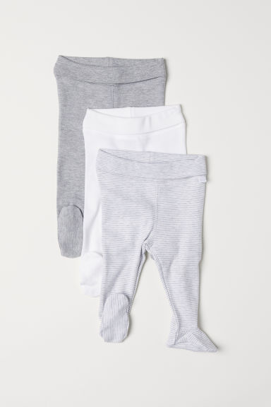 3-pack trousers with feet - Light grey/Striped - Kids | H&M