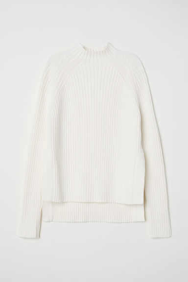 Rib-knit cotton jumper - White -  | H&M CN