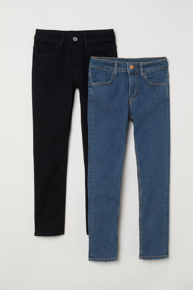 2-pack Skinny Fit Jeans - Dark denim blue/Black - Kids | H&M